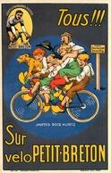 """"""" Vélo PETIT BRETON - Jantes Bois Kuntz """" - Illustrateur Mich - Cp Publicitaire Pub Publicité - Cycle Cyclisme - AA117 - Publicité"""