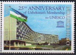 UZBEKISTAN, 2018, MNH, UNESCO, 25th ANNIVERSARY OF UZBEKISTAN MEMBERSHIP, FLAGS, 1v - UNESCO