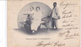 CARD CINA SHANGHAI 1901 CHINESE LADIES ON WEELBARROW-VEICOLO A MANO PER DUE PERSONE  2 SCAN-FP-V-2-28406-408 - Cina