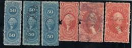 Lot Of 6, Sc#R54c (x2) #R60c #R71c #R81c #R82c 50c-$1-$2 Orig/Proc. Conveyance Mortgage, Revenue Issue Of 1862-71 Stamps - Steuermarken