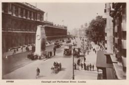 London UK, Parliament Street, Cenotaph, Street Scene, Omnibus C1910s Vintage Real Photo Postcard - Houses Of Parliament