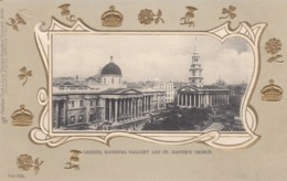 London UK, National Gallery And St. Martin's Church C1900s Vintage Embossed Postcard - Other