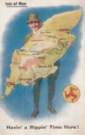 UK Isle Of Man, Man Holds Map Of Island 'Havin A Rippin Time Here', C1920s/30s Vintage Postcard - Isle Of Man