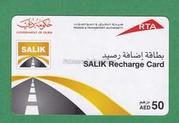 UAE / EMIRATES - DUBAI SALIK Recharge Card - Toll Card - AED 50 , Used - As Scan - Cars