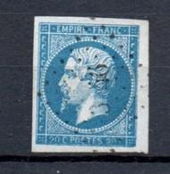 France 1853 Napoleon 20 Cents Dark Royal Blue On Bluish Fine Used - 1853-1860 Napoleon III