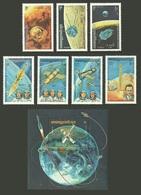 KAMPUCHEA 1984 SPACE RESEARCH KOROLEV LUNA SOYUZ COSMONAUTS SET & M/SHEET MNH - Kampuchea