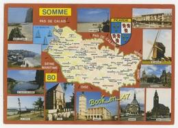 {79805} 80 Somme , Carte Et Multivues ; Mers Les Bains , Amiens , Montdidier , Ault , Le Crotoy , Poix , Abeville - Cartes Géographiques