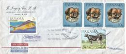 Panama 1967 Dorade Fish Dog Cow Coreo Aero Transatlantico Handstamp Cover - Panama