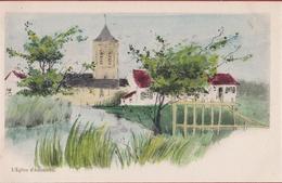 Adinkerke De Panne L'Eglise D' Adinkerke Oude Postkaart (+/- 1905) Ingekleurd - De Panne