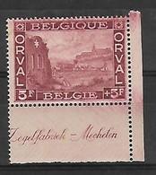 """OCB Nr 265 Orval MNH !!! Bladboord - Bord De Feuille  """" Zegelfabriek - Mechelen """" - 1918 Croix-Rouge"""