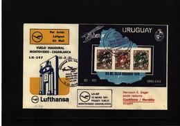 Uruguay 1971 Lufthansa First Flight Montevideo - Casblanca  Interesting Cover - Uruguay