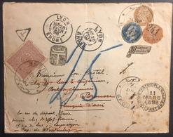 France /turquie 1898 étonnante Lettre Curiosité, Des Médaillon De Napoléons Déja Utilisés + Turquie N°92, Taxée ...  R - 1853-1860 Napoleon III