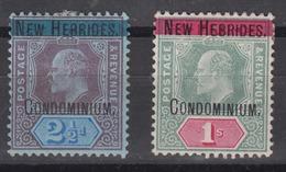 NEW HEBRIDES 1908-09 - Fiji Island Stamps Overprinted Mint Hinged - Englische Legende