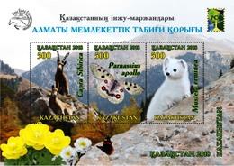 Kazakhstan  2018  MNH Almaty State Nature Reserve Butterfly Siberian Ibex Weasel - Butterflies