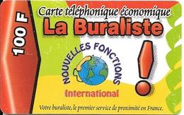 CARTE-a-PREPAYEE-100F-SWICHT-LA BURALISTE-INTERNATIONAL-3 0/10/2001- T B E- - France