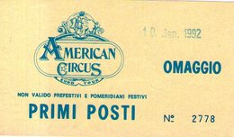 B 2163 - Biglietto D'ingresso, American Circus - Tickets D'entrée