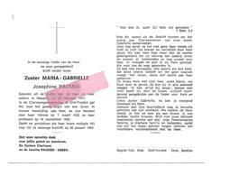 Z 305. Zuster MARIA-GEBRIELLE  (J. PAUMEN) - °MAASEIK 1911 /C Larissen ST-TRUIDEN / + 1992 - Images Religieuses