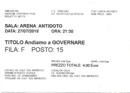 Biglietto D'Ingresso  ARENA ANTIDOTO   -  Gela  -  Anno 2018 - Tickets D'entrée