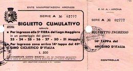 B 2166 - Biglietto D'ingresso, Arona, Fiera Lago Maggiore, Giro D'Italia, Autografo Bartali, Ciclismo - Tickets D'entrée