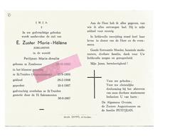Z 308. E. Zuster MARIE-HELENE ( M. PETITJEAN) - °ZOUTLEEUW 1883 / +ST-TRUIDEN (Augustinessen) 1967 - Devotion Images
