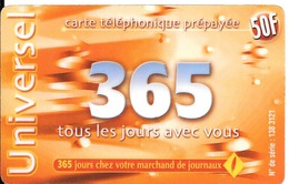 -CARTE-a-PREPAYEE-365-50F- 31/12/2002-R° Logo-365jours Rge-N° Sur Fond Gris Foncé-Code 3x4 N°-GRATTEE-TBE- - France