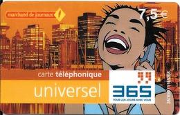 CARTE-a-PREPAYEE--365 -7.5€-R° Logo Marchand De Journaux-Rge-Sans Date-V°4 Cadres/1Rge-1 Vert-2 Bleu-N° Fond GriTBE- - France