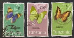 TANZANIA Scott # 44, 46, 47 Used - Butterflies - Tanzania (1964-...)