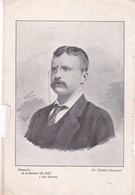 DR TEODORO ROOSEVELT. LAMINA REVISTA EL SOL SIZE 27x18cm CIRCA 1900s SHEET PLANCHE- BLEUP - Afiches