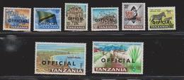 TANZANIA Scott # O1-8 MNH - Official Overprint - Tanzania (1964-...)