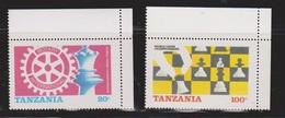 TANZANIA Scott # 304-5 MNH - Rotary Intl Chess Championships - Tanzania (1964-...)
