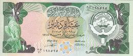 KUWAIT 10 DINAR 1980 1991 P-15c Sig/4  AU/UNC  */* - Kuwait