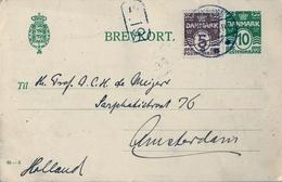 1927 , DINAMARCA , ENTERO POSTAL CIRCULADO , FRANQUEO COMPLEMENTARIO , SILKEBORG - AMSTERDAM - Postwaardestukken