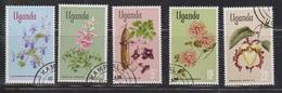 UGANDA Scott # 125-9 Used - Flowers - Oeganda (1962-...)