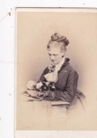 ANTIQUE CDV PHOTO.  LADY WITH PLAITED HAIR STYLE. LLANDUDNO STUDIO - Photographs