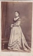 ANTIQUE CDV PHOTO.  STANDING LADY. LONG DRESS . HALIFAX STUDIO - Photographs