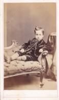 ANTIQUE CDV PHOTO. YOUNG BOY RECLINING ON CHAISE LONGUE   CARLISLESTUDIO - Photographs