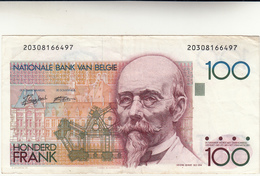 100 Francs Belgio Banconota Honderd Frank - [ 2] 1831-... : Regno Del Belgio