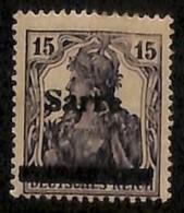 [811886]Sarre 1920 - N° 7B, 15p Violet-noir, 3e Tirage, Surcharge Déplacée, Laissant Voir 'DEUTSCHES REICH' - Sarre