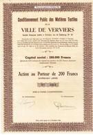Actions Anciennes - Lots De 3 Titres Conditionnement Public Des Matières Textiles De La Ville De Verviers - Industrie