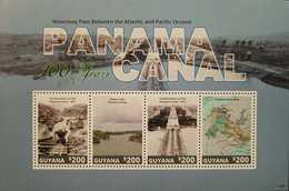 L) 2007 GUYANA, PANAMA CANAL 100 YEARS, WATERWAY PASS BETWEEN THE ATLANTIC AND PACIFIC OCEANS, NATURE, BUILDING, MAP, MN - Guyana (1966-...)