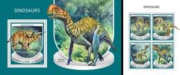 Sierra Leone 2018, Animals, Dinosaurus, 4val In BF +BF - Sierra Leone (1961-...)