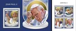 Sierra Leone 2018, Pope J. Paul II, 4val In BF +BF - Sierra Leone (1961-...)