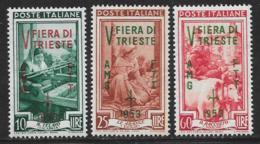 Trieste Zone A, Scott # 178-80 MNH Italy # 554,558,564 Overprinted, 1953 - 7. Trieste
