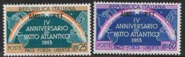 Trieste Zone A, Scott # 184-5 MNH Italy # 637-8 Overprinted, 1953 - 7. Trieste