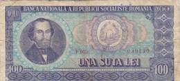 Roumanie - Billet De 100 Lei - 1966 - Nicolae Balcescu - Roumanie