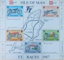 O) 1987 ISLE OF MAN, INT- PHILATELIC EXHIBITION CAPEX 1987 - MOTORCYCLE RACES-SUPERCHARGED-MANX-MV AGUSTA, GUZZI-HONDA, - Isle Of Man