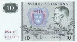 Suède - Billet De 10 Kronor - Gustav VI Adolf - 1972 F - P52c - Neuf - Suède