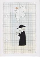 ILLUSTRATEUR SIGNÉ WILHELM SCHLOTE  - THEME HUMOUR - LA RELIGION  SAINT ANGE COLOMBE CURÉ - CARTOON DESSIN - Illustrators & Photographers