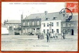 59  CPA D'HASNON    La Place Et La Pompe Communale     Joli Plan Animé     Peu Courant  1918   Très Bon état - France