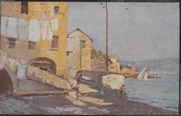 D. BONIFANTI - IL PICCOLO PORTO DI BOGLIASCO - FORMATO PICCOLO -  VIAGGIATA PER COMANDANTE DRAGAMINE R.D.25 - POLA - Pittura & Quadri